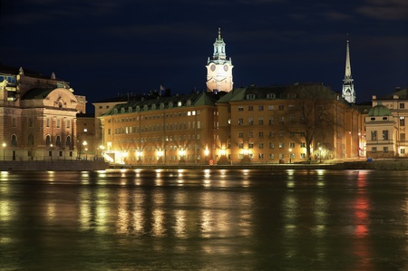 Stockholm, night view of the Gamla Stan, fragment of the Sveriges Riksdag (Parliament of Sweden), Storkyrkan (The Great Church) and Tyska Kyrkan (The German Church), Sweden photo