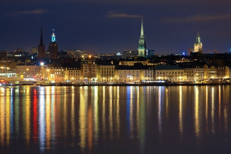 Night view of the Gamla Stan (The Old Town) in Stockholm, Sweden photo