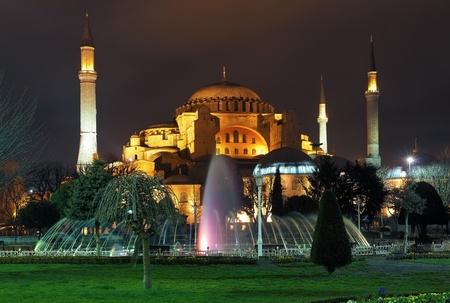 hagia: Evening view of the Hagia Sophia in Istanbul, Turkey