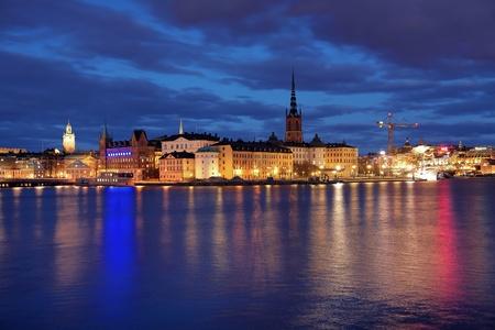 Wieczorem widoku Riddarholmen wyspa i Gamla Stan w Sztokholmie, Szwecja Zdjęcie Seryjne