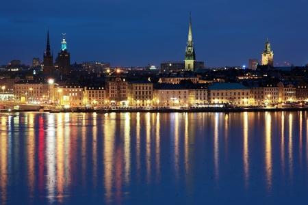 Evening view of the Gamla Stan (The Old Town) in Stockholm, Sweden photo