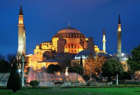 'S Avonds uitzicht op de Hagia Sophia in Istanbul, Turkije Stockfoto