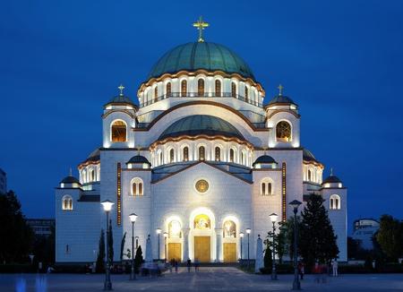 Kathedraal van Saint Sava in den avond, Belgrado, Servië Stockfoto