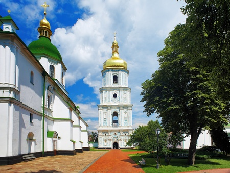 The bell tower of Saint Sophia Cathedral in Kiev, Ukraine photo