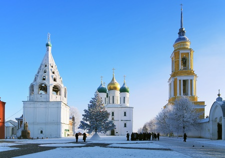 Cathedral Square in Kolomna Kremlin with a Christmas tree, the Assumption Cathedral and two bell towers at winter, Kolomna, Russia photo