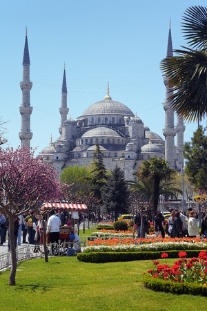View of the Sultanahmet Mosque in Istanbul, Turkey photo