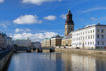 View of the Big Harbor Canal and Christina Church (Tyska Kyrkan) in Gothenburg, Sweden Stock Photo