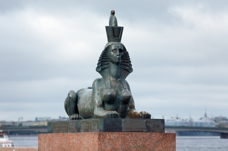 mikhail: The Sphinx with half skull face - element of the Monument to the victims of political repression by Mikhail Shemyakin in St. Petersburg on the embankment of the Neva river, Russia
