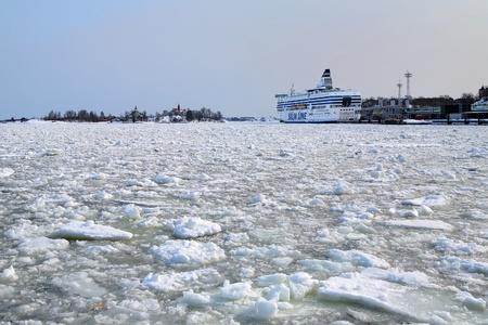 Silja Line ferry berthed in Helsinki bay in the winter, Finland photo