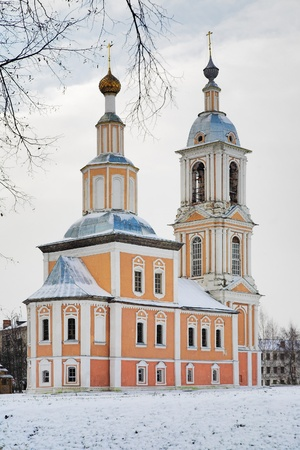 pilaster: Church of Kazan Mother of God in Uglich in winter, Russia Stock Photo