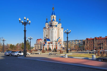 assumption: Cathedral of the Blessed Virgin Mary Assumption in Khabarovsk Stock Photo
