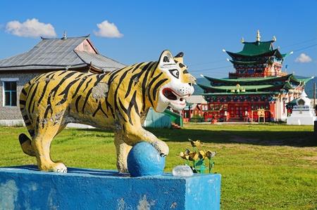 buryatia: Sculpture of Buddhist Lion in the Ivolginsky Datsan (buddhist monastery), Buryatia, Russia