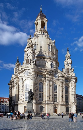 blue church: Frauenkirche (Church of Our Lady) and Monument to Martin Luther in Dresden, Germany