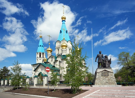 Cathedral of the Annunciation and Monument to Nikolay Muravyov-Amursky and Saint Innocent of Alaska and Siberia in Blagoveshchensk, Far East, Russia photo