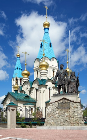 Cathedral of the Annunciation and Monument to Nikolay Muravyov-Amursky and Saint Innocent of Alaska and Siberia in Blagoveshchensk, Far East, Russia Stock Photo - 11500488