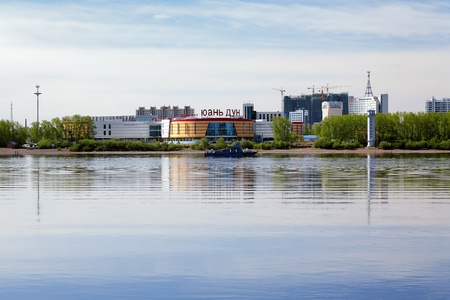 Shopping center on the bank of the Amur River in the Chinese city of Heihe, opposite the Russian city of Blagoveshchensk Stock Photo - 11709222