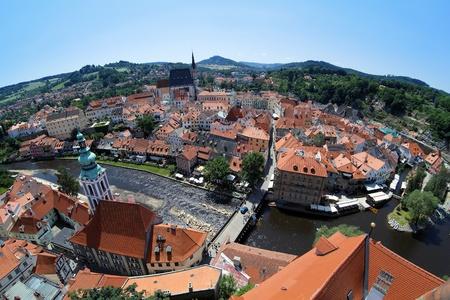 View of Cesky Krumlov from castle tower, Czech Republic Stock Photo - 11709281