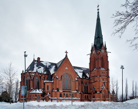 Umea City Church in winter overcast day, Sweden Stock Photo - 11964222