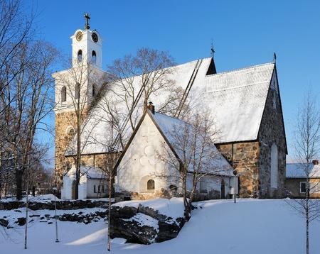 Church of the Holy Cross in winter, Rauma, Finland Stock Photo - 11964225