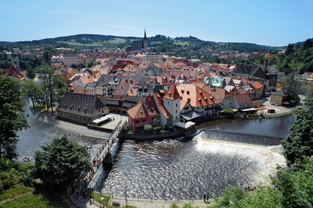 View on the Cesky Krumlov from Castle, Czech Republic photo