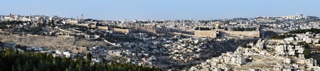 Panorama of Jerusalem, Old Town and Temple Mount, Israel photo