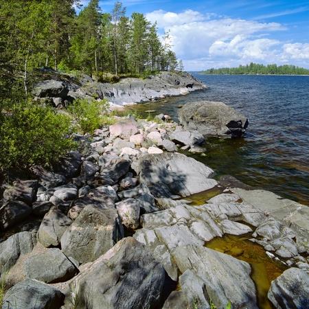 Stony shore of Ladoga lake, Karelia, Russia Stock Photo - 12056652