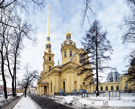 piter: Peter and Paul Cathedral in Peter and Paul Fortress, St. Petersburg, Russia Stock Photo