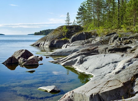 Stony shore of Ladoga lake, Karelia, Russia Stock Photo - 12188546