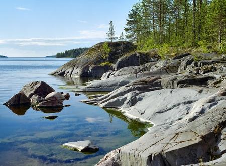 Stony shore of Ladoga lake, Karelia, Russia Stock Photo - 12188546