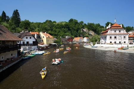 Rafting on Vltava river in Cesky Krumlov, Czech Republic photo