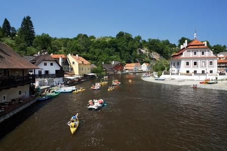 Rafting on Vltava river in Cesky Krumlov, Czech Republic