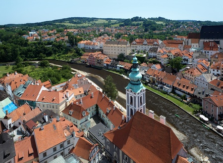 View of Cesky Krumlov and St  Jost Church, Czech Republic photo