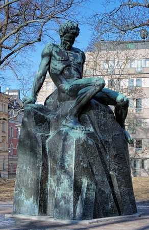 novelist: Monument of swedish playwright August Strindberg in Tegnerlunden park of Stockholm, Sweden