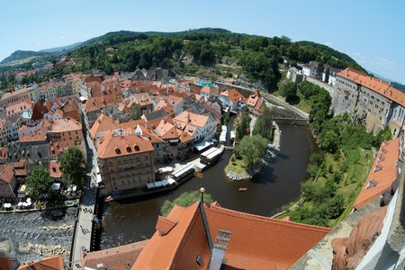 View of Cesky Krumlov and Vltava river, Czech Republic Stock Photo - 12604669