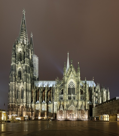 Cologne Cathedral in night illumination, Germany Stock Photo