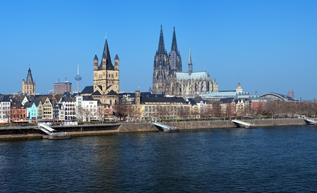 View on Cologne with Tower of City Hall, Colonius TV tower, Great St  Martin Church and Cologne Cathedral, Germany photo