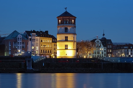 rhine westphalia: Evening view of Schlossturm  the extant tower of Dusseldorf castle , Dusseldorf, Germany