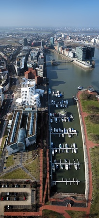 frank: Dusseldorf, View from Rheinturm TV tower on Media Harbour with buildings of architect Frank Gehry, Germany