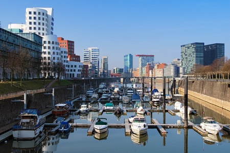 Dusseldorf, Media Harbour with contemporary architecture, Germany
