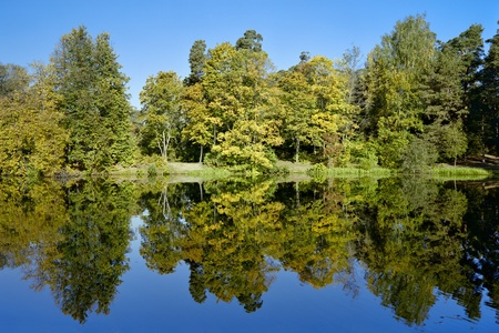 Symmetrical landscape with trees reflecting in lake in autumn, Russia photo