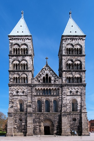 Facade of the Lund Cathedral in sunny day, Sweden Stock Photo - 13505302