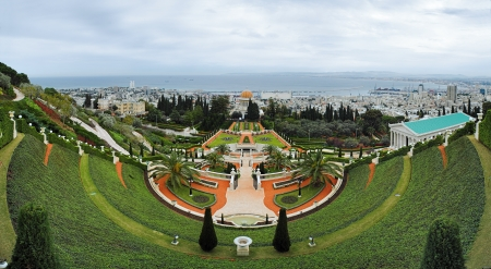 bahaullah: Panorama of Bahai Gardens in Haifa from Mount Carmel, Israel