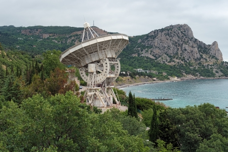 Crimea, Radiotelescope of the Simeiz Observatory and Mount Koshka in overcast day, Ukraine Stock Photo - 13911615