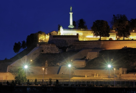belgrade: Evening view on the Kalemegdan fortress and Statue of the Victor  Pobednik  in Belgrade, Serbia