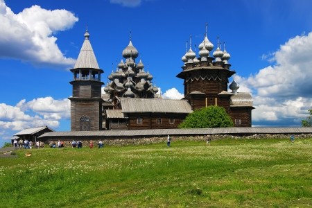 Wooden churches on island Kizhi, Karelia, Russia photo