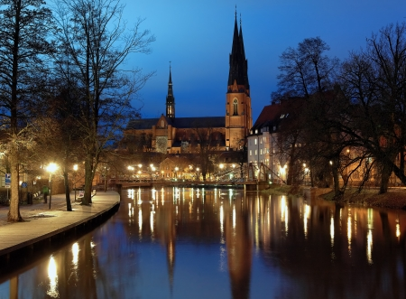 upsala: Uppsala Cathedral at evening, Sweden Stock Photo