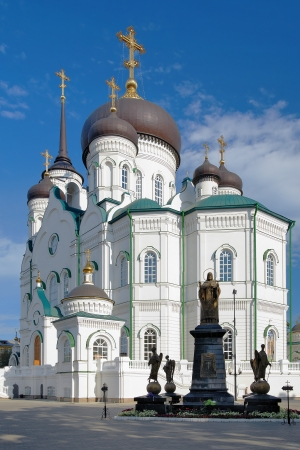 voronezh: Annunciation Cathedral in Voronezh and Monument to St Mitrofan of Voronezh, Russia