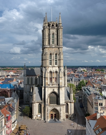 View on the Saint Bavo Cathedral from the Belfry in Ghent, Belgium photo