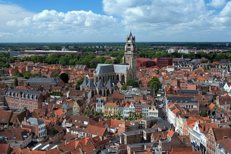 salvator: Top view of the Saint Salvator Cathedral and Old Town of Bruges, Belgium
