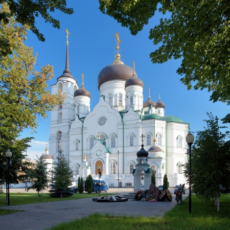 voronezh: Annunciation Cathedral and Memorial to the Liquidators of the Chernobyl disaster in Voronezh, Russia
